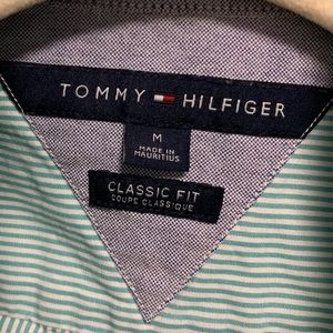 Tommy Hilfiger Teal Striped Button Up